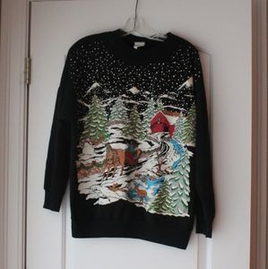 Vtg 80s / 90s Christmas graphic top